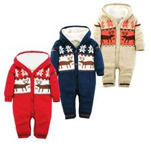Christmas Deer Hooded Outwear Baby Rompers Winter Thick Climbing Clothes Newborn Boys Girls Warm Romper Knitted Sweater(China (Mainland))