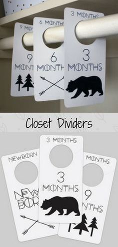 Adorable woodland themed closet dividers! These are so cute! Adventure Printable PDF Baby Nursery Closet Dividers & Organizers - print yourself - Baby Girl Baby Boy, Nursery Decor, Nursery Organization #affiliate