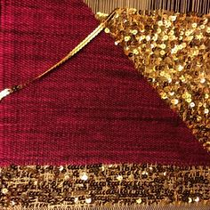 Weaving with sequence Srsly? Sequins. It's sequins. That's what you're looking for. Sequence: the following of one thing after another; succession.  Sequin: a small shining disk or spangle used for ornamentation, as on women's clothing and accessories or on theatrical costumes.