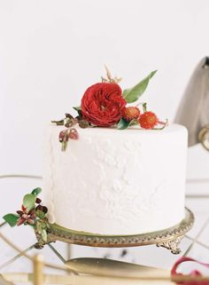 Red floral topped wedding cake: http://www.stylemepretty.com/2016/02/08/chic-valentines-day-elopement-inspiration/ Photography: Caroline Tran - http://www.carolinetran.net/