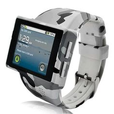 """Black Friday Android Phone Watch """"Rock"""" - 2 Inch Capacitive Screen, Micro SD, Camera (ACU Camouflage) from Cadi Distribution Cool Technology, Wearable Technology, Technology Gadgets, Tech Gadgets, Cool Gadgets, Men's Watches, Cool Watches, Watches For Men, Android Watch"""