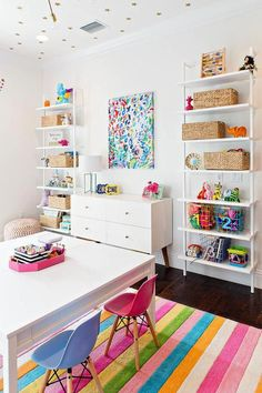 Under a ceiling covered in Coronata Star Wallpaper, this beautiful designed playroom features white wall mounted shelves positioned flanking a white mid century modern dresser placed beneath an abstract art piece. #romantichomedecorcozylivingrooms