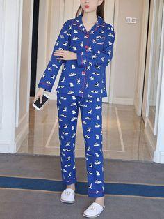 Women's Pajamas Set Cute Dog Pattern Long Sleeve Top Home Pants Sweet Suit Dog Pattern, Collar Pattern, Presents For Dog Lovers, Women's Pajamas, Lingerie Sleepwear, Shoulder Sleeve, Types Of Sleeves, Pajama Set, Amazing Women
