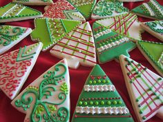 Decorated Christmas tree cookies, sugar cookies rolled out or cut out