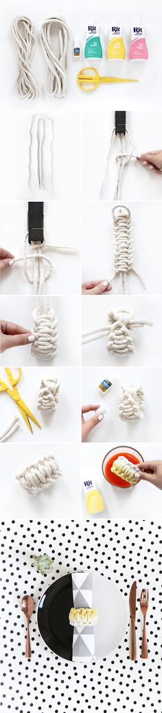 MY DIY | Dip-Dye Cotton Rope Knotted Napkin Ring | I SPY DIY