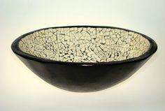 Ostrich eggshell mosaic bowl