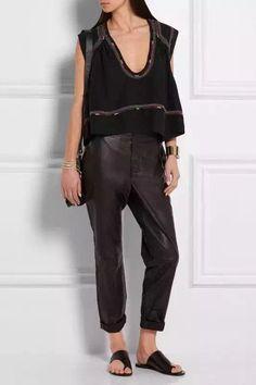 VogaIn 2016 New Fashion Women IM Runway Black Silk Ethnic Embroidery Hem Loose Sleeveless Shirt Deep V-neck Irregular Tops