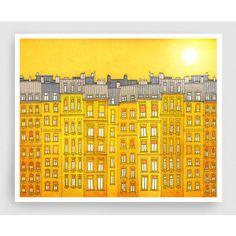 Yellow facade (landscape Paris illustration Fine art illustration... ($28) ❤ liked on Polyvore featuring home, home decor, wall art, landscape wall art, landscape posters, yellow wall art, cityscape posters and paris poster