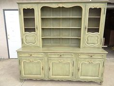 antique country French china cabinet breakfront hutch paint decorated