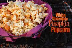 White Chocolate Pumpkin Popcorn (Butter Popcorn, Pumpkin Pie Spice & White Chocolate)  l  Katie's Cucina
