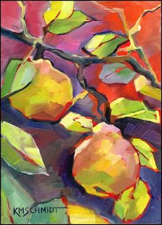 impressionist colorist pear tree painting ripe golden pears illustration. Louisiana daily artist