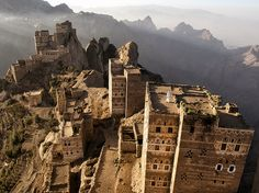 Picture of village on top of peak in Haraz Mountains, Yemen