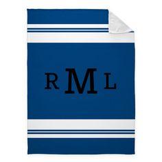 Simple Stripe Monogram Fleece Photo Blanket, Plush Fleece, 60 x 80, Blue