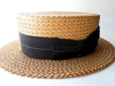 Sunchester Straws Mens Boater Style Straw Hat circa 1920s sz 7 - Dorothea's Closet Vintage