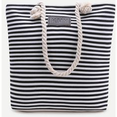Black Striped Print Tote Bag (68.750 IDR) ❤ liked on Polyvore featuring bags, handbags, tote bags, purses, black and white, black and white shorts, dolphin shorts, dolphin hem shorts, canvas shorts and drawstring waist shorts