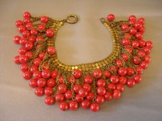Vintage Early Miriam Haskell Fire Red Glass Bead Mesh Chain Bracelet | eBay