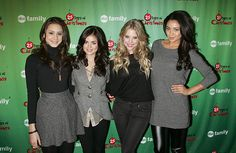 Actors Troian Bellisario Lucy Hale Ashley Benson and Shay Mitchell attends ABC Family's Winter Wonderland at The Rock Center Cafe at Rockefeller...