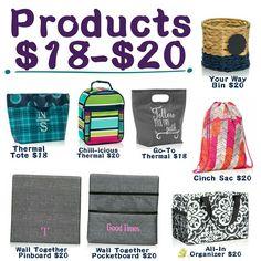 $18-$20 gift ideas! Shop my website. www.mythirtyone.com/jenajones