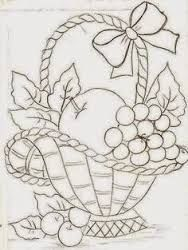 68 Ideas For Fruit Basket Drawing Paintings Hand Embroidery Patterns, Applique Patterns, Vintage Embroidery, Ribbon Embroidery, Embroidery Stitches, Machine Embroidery, Fruit Basket Drawing, Fabric Painting, Painting Art