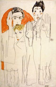 Egon Schiele - Double Self-portrait with Wally, Seher (Doppelselbstporträt mit Wally), gouache, watercolors. Gustav Klimt, Figure Drawing, Painting & Drawing, Gouache, Art Moderne, Art And Illustration, Oeuvre D'art, Art Inspo, Art History