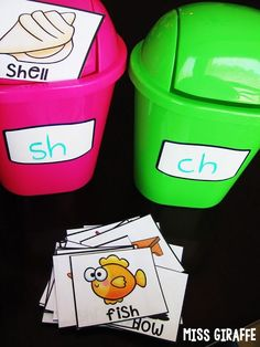 These removable AND dry erase labels are amazing – you can use them to label anything like here how each week the sound they're sorting changes so you just wipe it and write the new sound each week!