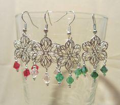 Silver Filagree Flower & Crystals Dangle Earrings by Pizzelwaddels, $11.97