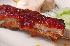 Spare ribs with American BBQ sauce, a popular recipe from the pig category. Ratings: Average: Ø Vegan Thanksgiving, Thanksgiving Appetizers, Rib Sauce, Baked Ribs, Side Dishes For Bbq, Easy Meals For Kids, Rib Recipes, Pork Ribs, Popular Recipes