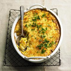 Your guests will be all ears when this casserole takes the stage. It's the perfect balance of creamy and crunchy, with plenty of cheese and bread crumbs to top it off./