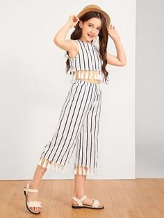 Shop Girls Tassel Hem Keyhole Back Top & Pants Set online. SheIn offers Girls Tassel Hem Keyhole Back Top & Pants Set & more to fit your fashionable needs. Girls Fashion Clothes, Kids Outfits Girls, Cute Girl Outfits, Tween Fashion, Teen Fashion Outfits, Cute Summer Outfits, Cute Outfits For Kids, Fall Outfits, Tween Mode
