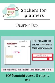 Blank Quarter Box Sticker, Daily Blank Stickers Printable Labels, Printable Stickers, Printable Planner, Planner Stickers, Erin Condren Life Planner, Weekly Planner, Box Design, Free Design, Blank Labels