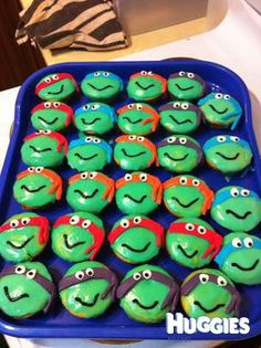 I made these teenage mutant ninja turtle cupcakes for my son to share at preschool, glaze icing with fondant masks/eyes and gel writing pen mouth.