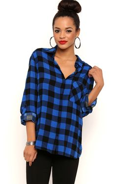 Deb Shops Long Button Tab Sleeve Buffalo Plaid Top with Front Pocket $13.20
