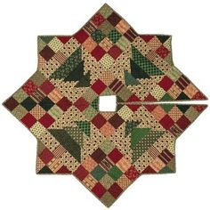 """Quilted Christmas tree skirt - could be made with country homespun fabrics and still look """"christmasy."""""""