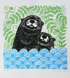 Otters, Original Linocut Print, Signed Open Edition, Free Postage in UK, Hand… Linocut Prints, Art Prints, Block Prints, Orang Utan, Linoleum Block Printing, Linoprint, Chalk Pastels, Wood Engraving, Woodblock Print