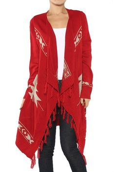 How The West Was Won Fringe Sweater - Red - $38.00 | Daily Chic Tops | International Shipping