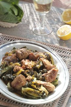 Ikaria Lemony Pork Braised with Collards or Bok Choy | Greek Food - Greek Cooking - Greek Recipes by Diane Kochilas
