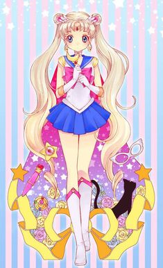 anime, cute, drawing, hair, kawaii, luna, pastel goth, sailor moon, serena, usagi, First Set on Favim.com