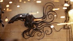 British metal artist Alan Williams's fascination with aliens, sea monsters and other fantastical creatures dates back to his childhood. Alan Williams, Sea Monsters, Metal Crafts, Metal Art, Fascinator, Sculptures, Artsy, Table Lamp, Ceiling Lights