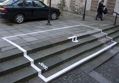 Jeep Stairs Advertisement - Clever parking space on the stairs reserved only for Jeeps.