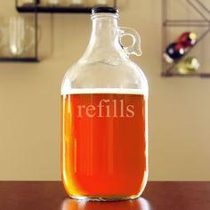 'Refills' Glass Growler (RF-2216), Clear