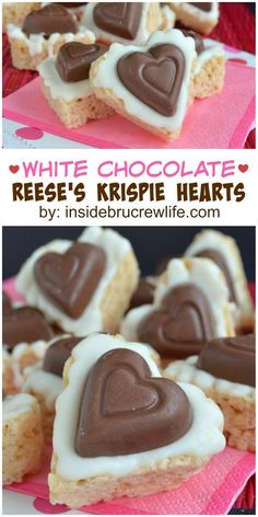 Cute heart shaped rice krispie treats topped with white chocolate and a Reese's peanut butter heart are a fun and easy dessert recipe to make.
