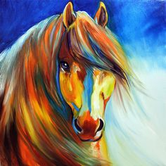 Golden Colorful Horsehead  - Gallery Wrap - Original Collection - Hand Painted Oil on Canvas