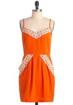 Two to Tangelo Dress - Short, Orange, White, Solid, Pockets, Trim, Sheath / Shift, Spaghetti Straps, Casual, Crochet, Summer