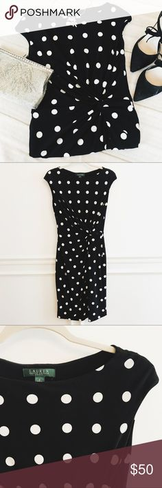 Ralph Lauren Black & White Polka Dot Midi Dress Lauren Ralph Lauren black and white polka dot midi dress. Like new condition. Soft stretchy fabric. Size 8. Lauren Ralph Lauren Dresses Midi