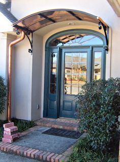 The Eyebrow Gallery Copper Awnings Projects Of Metal Front Door Awning, Front Door Canopy, Porch Awning, Awning Canopy, Front Doors, Door Overhang, Front Entry, Copper Awning, Metal Awning