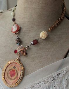 vintage assemblage necklace - APOSTLESHIP of PRAYER - with scapular, rhinestones, cameo and mother of pearl rosary by the french circus Jewelry Crafts, Jewelry Art, Vintage Jewelry, Jewelry Necklaces, Jewelry Design, Jewelry Ideas, Beaded Jewelry, Cameo Jewelry, Necklace Ideas