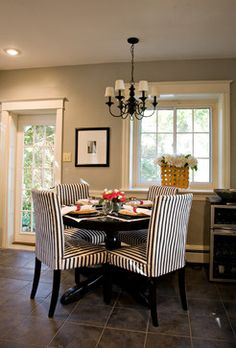 The mix of gray and beige on the walls can give an elegant look to a space.