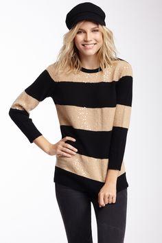 2773c55ed716 Sequin Stripe Wool Pullover Fashion 101
