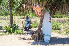 "Surfer at a ""secret"" beach in Lombok"