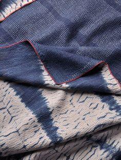 Indigo Kantha Shibori Silk Stole